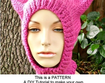 Download Knitting Pattern - Knit Hat Pattern for Cat Hat Balaclava