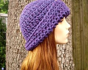 Purple Womens Hat 1920s Flapper Hat - Garbo Cloche Hat Violet Purple Crochet Hat - Purple Hat Purple Cloche Womens Accessories Winter Hat