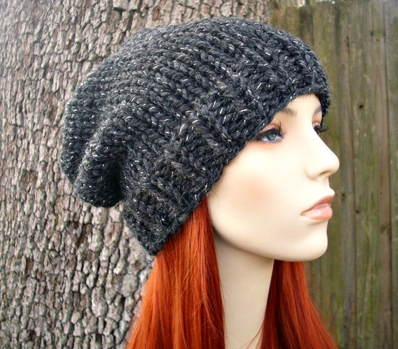 Slouchy Toque Knitting Pattern : Charcoal Grey Slouchy Hat Knit Hat Womens Hat Mens Hat Grey