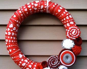Valentine's Day Wreath - Red & White Heart Ribbon Wreath decorated w/ felt flowers. Heart Wreath - Valentine's Day Decoration -Ribbon Wreath