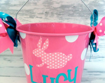personalized Easter bunny bucket with a patterned bunny