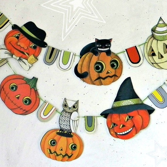 SALE- Halloween Pumpkin Jack O'Lantern Banner Garland Bunting Ornaments Decoration Original Folk Art  DIY