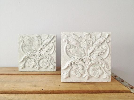 White Block Wall Decor - Square Floral Wall Art - Garden Wall Decor - Shabby Decor