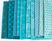 10 Blue Green - Fat Eighth Bundle - Quilting Fabric
