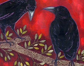 Two Ravens Meet- 6x6 Archival Print on Wood