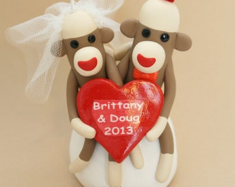 "Sock Monkey Heart Wedding Cake Topper and/ or Ornament 3"" Custom Made"
