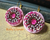 SALE,Sequin Earrings, Fuschia, Bubble Gum Pink,Applique on Wood,Artsy Jewelry, Small and Bright, European, Gypsy style, Unique Chic, Evelise