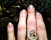 Number Thirteen 13 Brass Crescent Moon Ring Art Nouveau, Tattoo, Steampunk New Year 2013 Good Luck