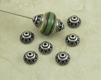 6 TierraCast 8mm Bali Bead Caps > Ornate Triangle Exotic - Silver Plated Lead Free Pewter - I ship Internationally 5568