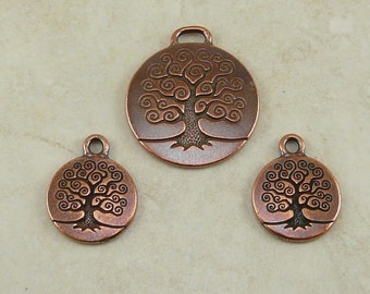 3 TierraCast Tree of Life Charms and Pendant Mix > Bodhi Buddha Buddhist Spiral - Copper Plated Lead Free Pewter - I ship Internationally
