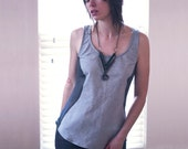 SONUS-Monochromatic Tank Top w/ Sheer Side Panels-Two Tone Gray