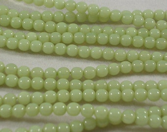 Czech Glass Beads CLOSEOUT SALE (GB110) 50 Peridot Green 4mm Round