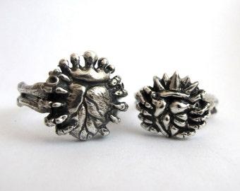 Love in Hand - Alternative Anatomical Claddagh Wedding Ring Set - Skeleton Hands - Handmade - Sterling SIlver - Couples - Rickson  58&103