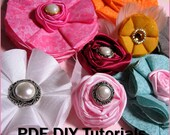 Instant Download - Make Fabric Flowers DIY Rolled Roses Tutorials - Instructions Patterns - No Sew Easy