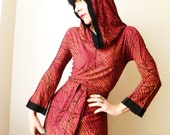 Flux - iheartfink Handmade Hand Printed Womens Artistic Metallic Print Mini Dress Tunic with Hood