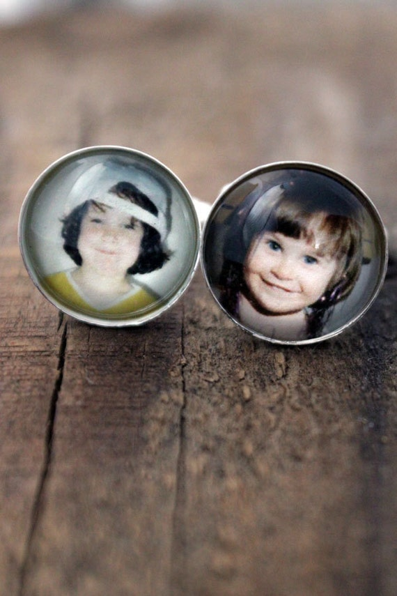 Custom Photo Cufflinks - Personalized Silver or Bronze Cufflinks - Customized Gift for Dad, Groomsmen, Husband, Weddings, Christmas
