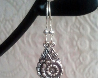 FREE SHIPPING Destash CLEARANCE Sale - Gorgeous Flower Filigree Silver Ox Drop Earrings on French Ear Wires