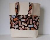 SUMMER CLEARANCE - Canvas Tote - Beach Bag - Book Bag - Wine Corks