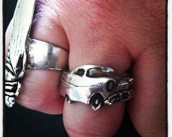 1957 Chevy Belair Angled Wrap Ring in White or Gold Bronze