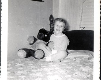 Vintage photo Retro Julie HOlds Teddy Bear in Bed