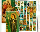 Antique Catholic Paintings I Domino Digital Collage Sheet Series 1x2 25mm x 50mm 1x2 inches green blue floral blessed mother virgin mary