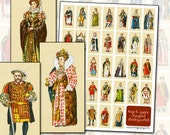 Kings and Queens of England  digital collage sheet Henry VIII Elizabeth I 1x2 25 mm x 50 mm