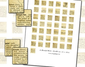 Beautiful Words Dictionary Scrabble size digital collage sheet .75 x .83 in  19mm x 21mm  from vintage dictionary