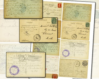 """Antique Postcard Backs Collage Sheet 8.5 x 11"""" full page of postcards writing postal postage mail art correspondence"""