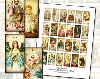 Antique Catholic Holy Cards III Digital Collage 1x2 domino size for altered art collage mixed media shrines 25mm x 50mm rectangle