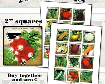Antique Vegetable & Herb Seed Packet SET 2x2 inch 24 images two sheets