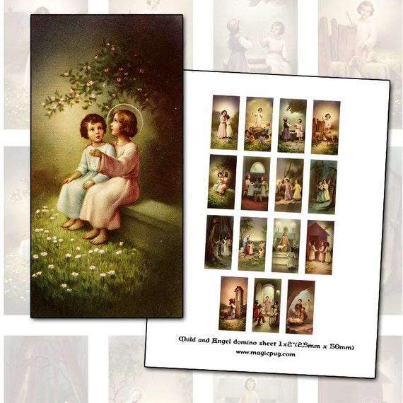 Catholic Child Holy Cards Digital Collage 1x2 domino size for religious 25 mm x 50 mm