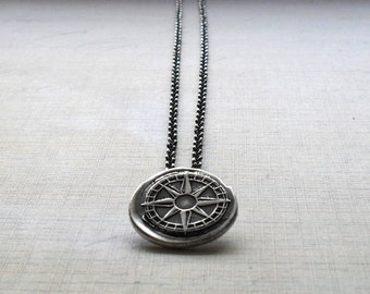 True North Compass Fine Silver Necklace - Made to Order