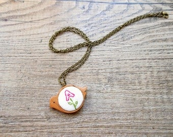 Pendant - Wooden Bird - Hand Embroidered - Personalized