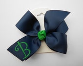 Preppy Monogram, Initial Uniform, Hair Bow, Monogrammed Letter, School Colors, Plaid Girls, Dress Code, Khaki Green Navy, Private Boutique