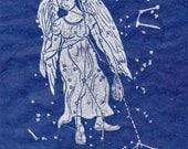 Virgo Constellation Linocut in Silver on Blue - Constellations of the Zodiac Lino Block Print Collection - Virgo Star Map
