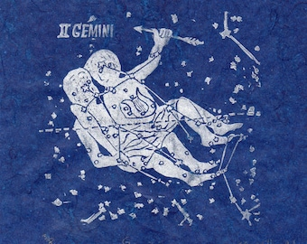 Gemini Constellation Linocut - Constellations of the Zodiac Lino Block Print Collection - Silver on Blue, Gemini the Twins, Castor & Pollux