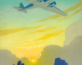 Sale Large 20x24 SUNSET Over SOUTHWEST Dc-3 Art Deco Airplane Travel desert in 1930s 40s American, TWA, Pan Am and United Airlines
