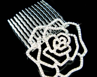Swarovski Crystal Cut Out Rose Flower Floral Bridal Wedding Hair Comb Head Piece Fascinator Jewelry - Ready to Ship