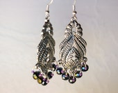 Handmade Crystals with seed beads Beaded Dangling Earrings