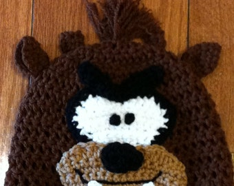 Taz Tasmanian Devil Crochet Beanie Skullcap Hat- sizes newborn through adult