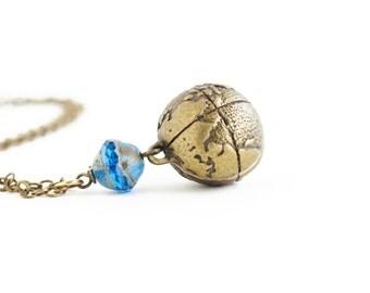 Globe Necklace, Gift For Woman, Globe Pendant, Brass Globe, Blue Glass Bead, Wanderlust, Gift For Traveler, Graduation Gift