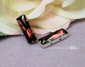 Swarovski Burgundy-Color 21x7mm Princess Cut Crystal With Setting Crystal Sew On Craft Supplies Jewelry Making