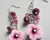 Garnet Blossoms Handmade Artisan Clay Bead Earrings SRA