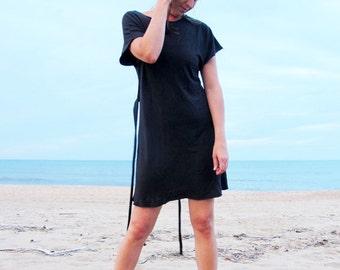 Organic Kimono Belted Short Dress (light hemp/organic cotton knit) - organic dress