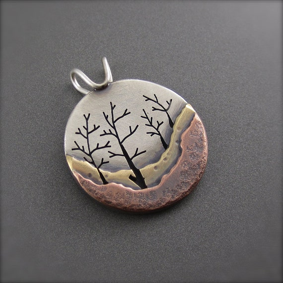 Four's a Forest Mixed Metal Family Tree Pendant