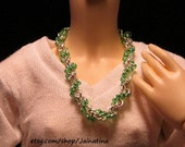 Ball Jointed Doll Shiny Silver Spiral Chain Necklace with Green Beads