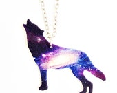 Purple Howling Wolf Galaxy Necklace