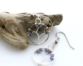 Wire Tree of Life Dangle Earrings, Purple & Silver Tree Drop Earrings, Hypoallergenic Earrings for Sensitive Ears, Nickel Free Earrings