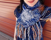 University of Memphis Colors Handknit Scarf - Silvery Grey, Royal Blue, Tiger Orange and Black