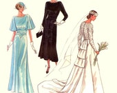30s style Wedding gown and bridesmaid dress Great Gatsby sewing pattern 80s 60th Anniversary Simplicity 9560 Sz 8 to 14